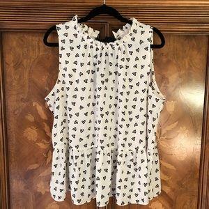 LOFT sleeveless heart print peplum shirt XL